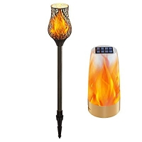 ihocon: Evelynsun Solar Lights Metal Tulip Torches with Flickering Flame 36 Outdoor Solar 太陽能閃爍火焰燈
