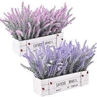 ihocon: XONOR Artificial Lavender Flower in Wooden Vase (Set of 2) 薰衣草人造花 2盆