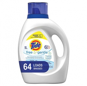 ihocon: Tide Free and Gentle HE Laundry Detergent Liquid, 100 oz, 64 Loads, Unscented洗衣劑