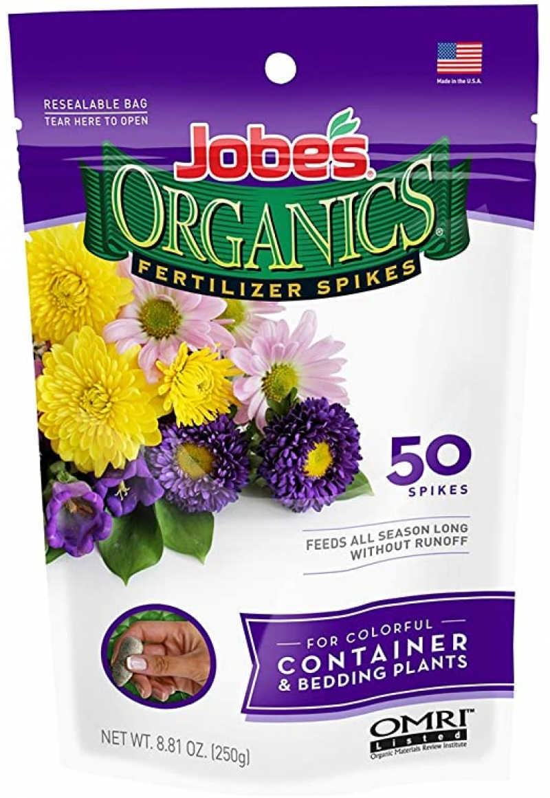 ihocon: Jobe's Organics Container & Bedding Plant Fertilizer Spikes, 50 Spikes 有機盆裁植物/花床植物肥料釘