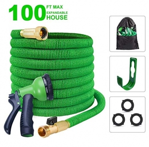 ihocon: slendor Expandable Garden Hose 3/4 Solid Brass Fitting - Expanding Water Hose with Hanger Hook 8 Pattern Spray Nozzl 伸縮澆花水管, 含噴水頭