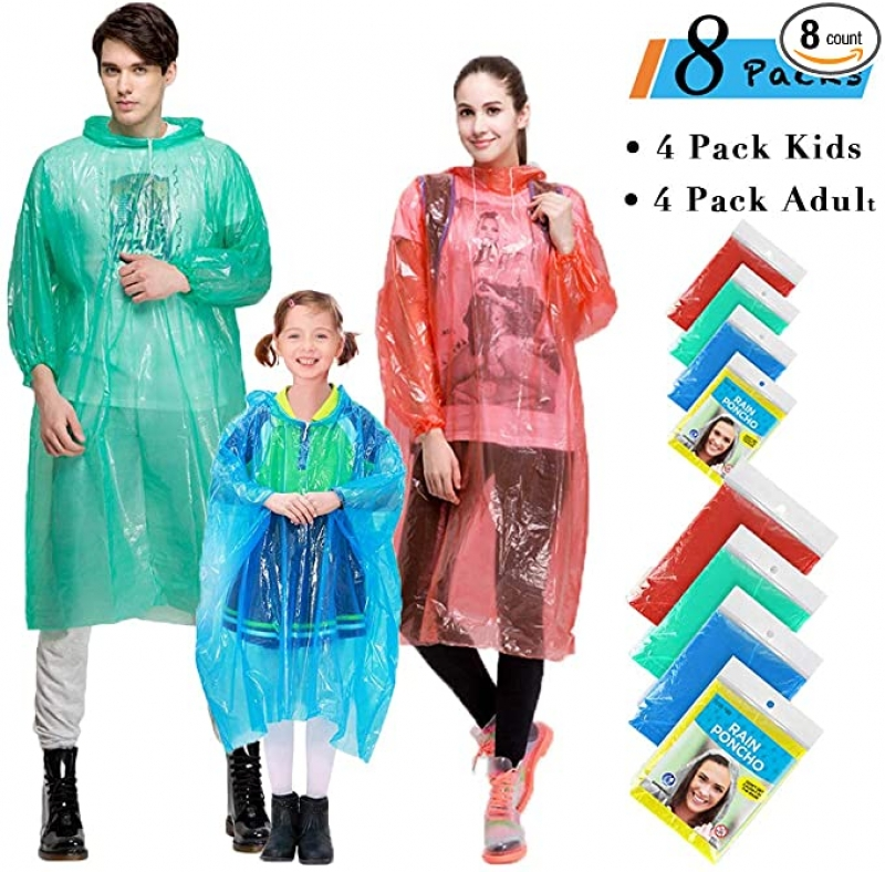 ihocon: Farielyn-X Rain Ponchos Family Pack, 8 Pack 一次性雨衣