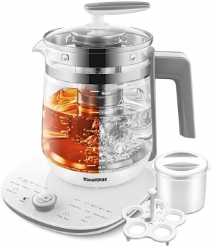 ihocon: ICOOKPOT Glass Tea Kettle Programmable with Tea Infuser, Egg Cooker and Yogurt Box, WHITE 可自定程序多功能電熱水瓶(煮蛋/煮粥/煮湯/做優格,酸奶...)