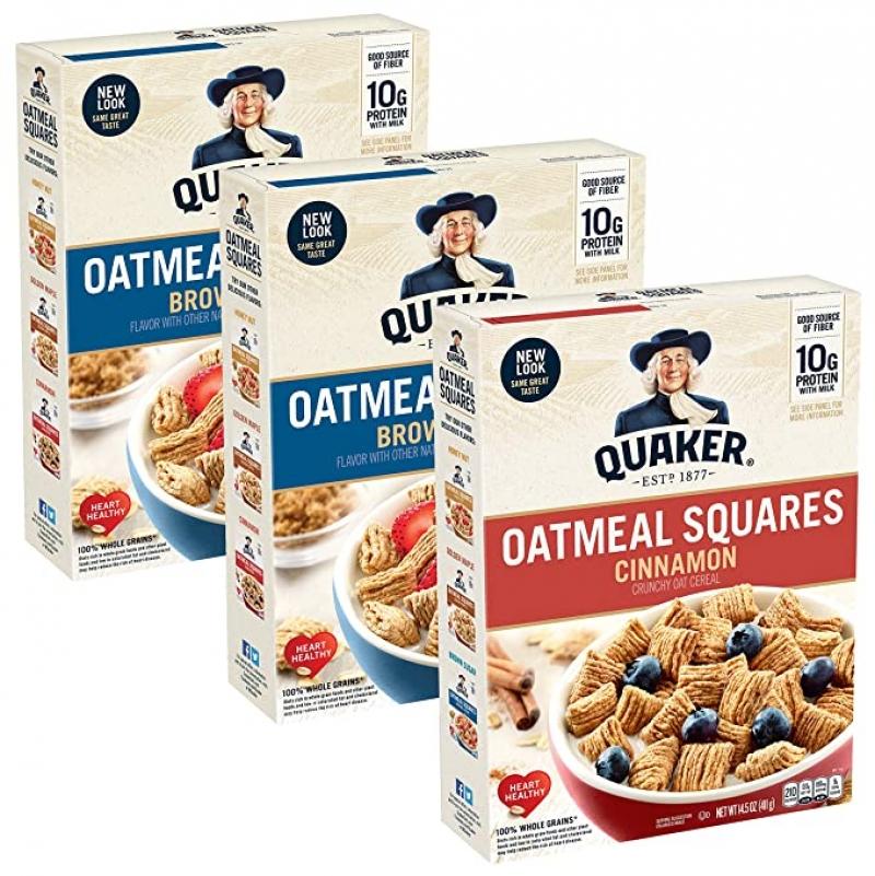 ihocon: Quaker Oatmeal Squares Breakfast Cereal, Brown Sugar & Cinnamon Variety Pack (3 Pack)
