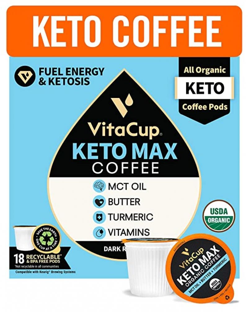 ihocon: VitaCup Organic Keto Max Dark Roast Coffee Pods w/ Butter, Coconut MCT Oil, Turmeric, B Vitamins, & D3, 18 CT 有機咖啡膠囊