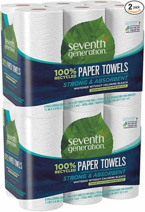 ihocon: Seventh Generation Paper Towels, 100% Recycled Paper, 2-ply, 6 Roll, 2 Pack (12 Rolls) 廚房紙巾