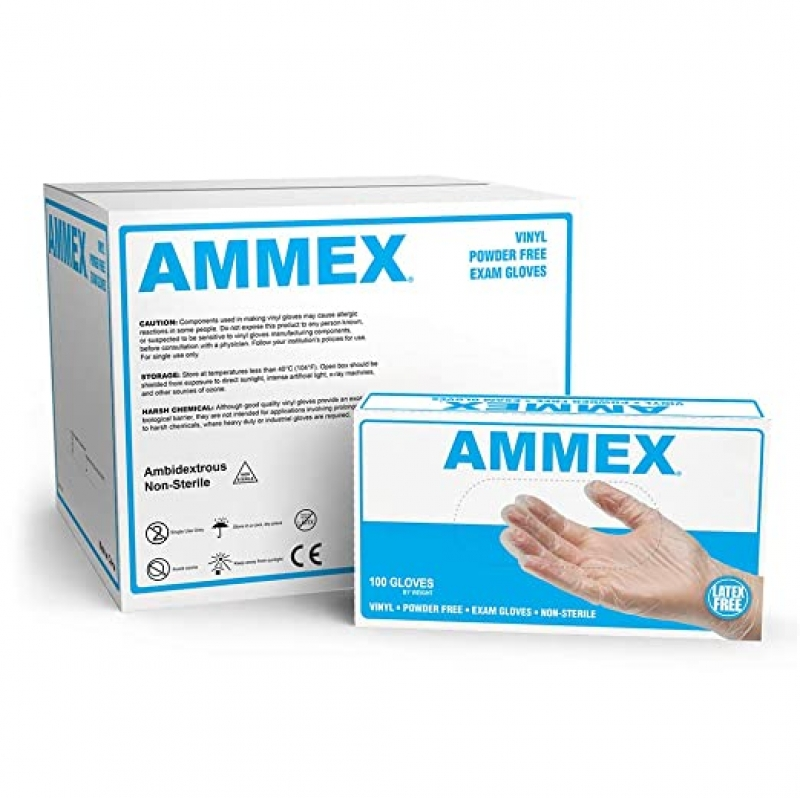 ihocon: AMMEX Medical Clear Vinyl Gloves, Case of 1000, 4 mil, Size Small一次性手套