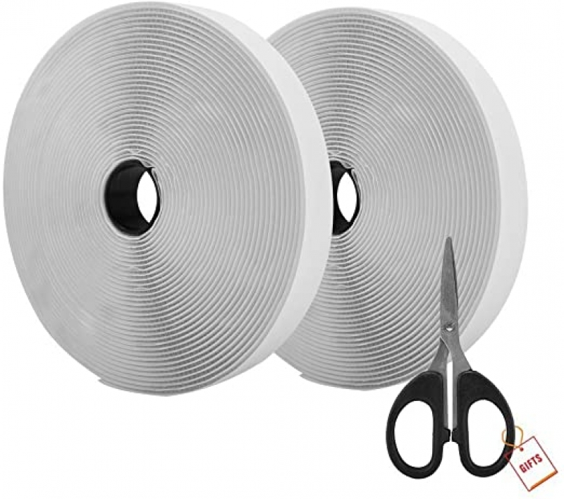 ihocon: AIEX 39.37 Feet/12m Hook And Loop Self Adhesive Tape Roll With Gift Scissors 自黏魔術貼