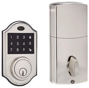 ihocon: AmazonBasics Electronic Deadbolt Door Lock, Classic, Satin Nickel 電子門鎖