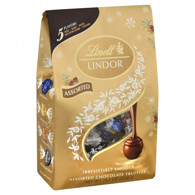 ihocon: Lindt Lindt Lindor Assorted Chocolate Candy Truffles, 15.2 oz Bag 巧克力