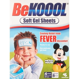 ihocon: Be Koool Soft Gel Sheets for Kids, 4 count 兒童發燒涼貼