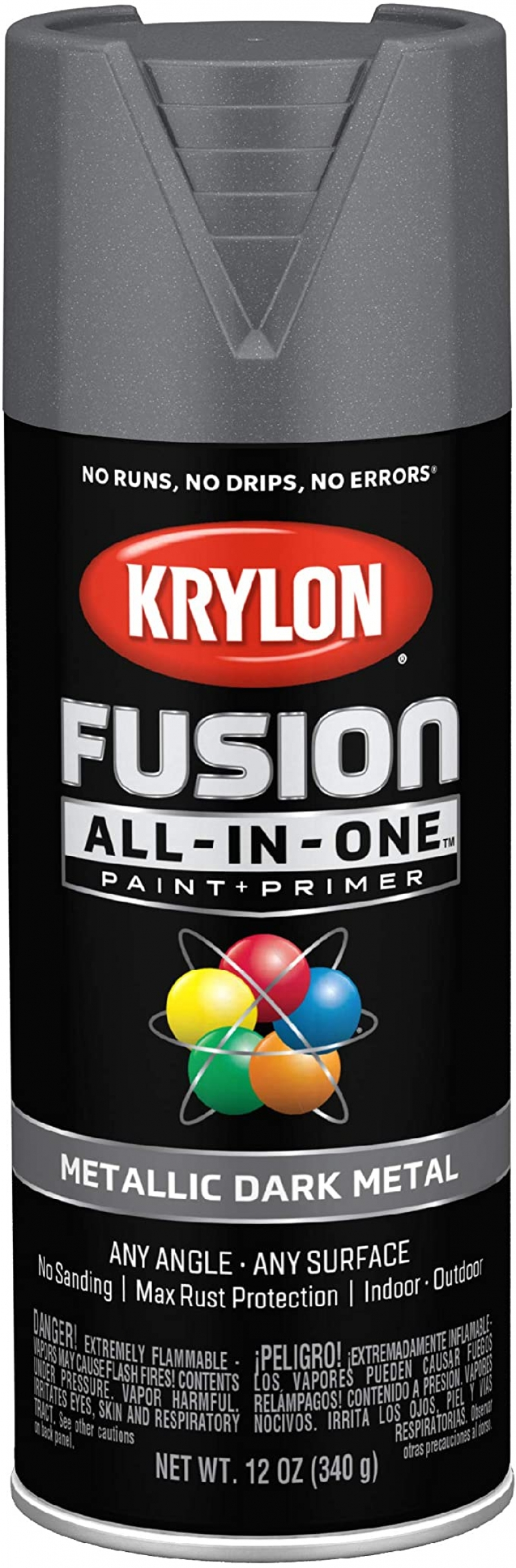 ihocon: Krylon K02769007 Fusion All-In-One Spray Paint for Indoor/Outdoor Use, Metallic Dark Metal室內/室外噴漆