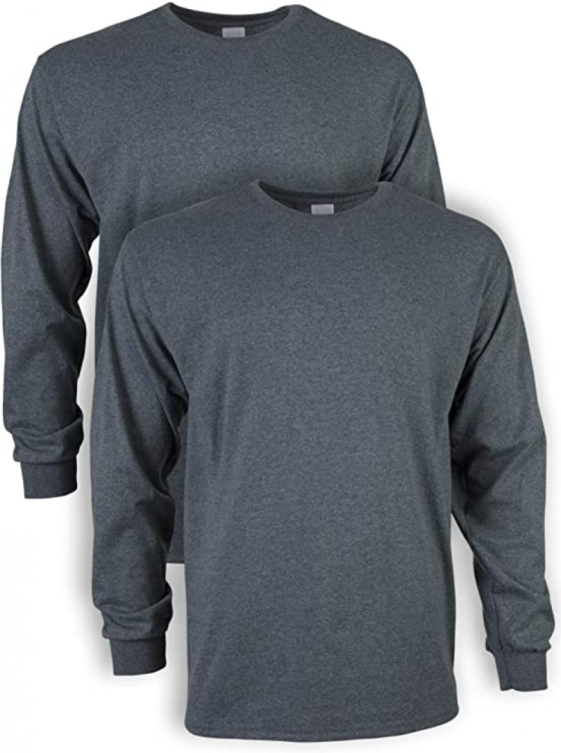 ihocon: Gildan Men's Ultra Cotton Long Sleeve T-Shirt, 2-Pack 男士100% Cotton純棉長袖衫-多色可選