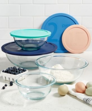 ihocon: Pyrex 8-Pc. Mixing Bowl Set 玻璃含蓋大碗