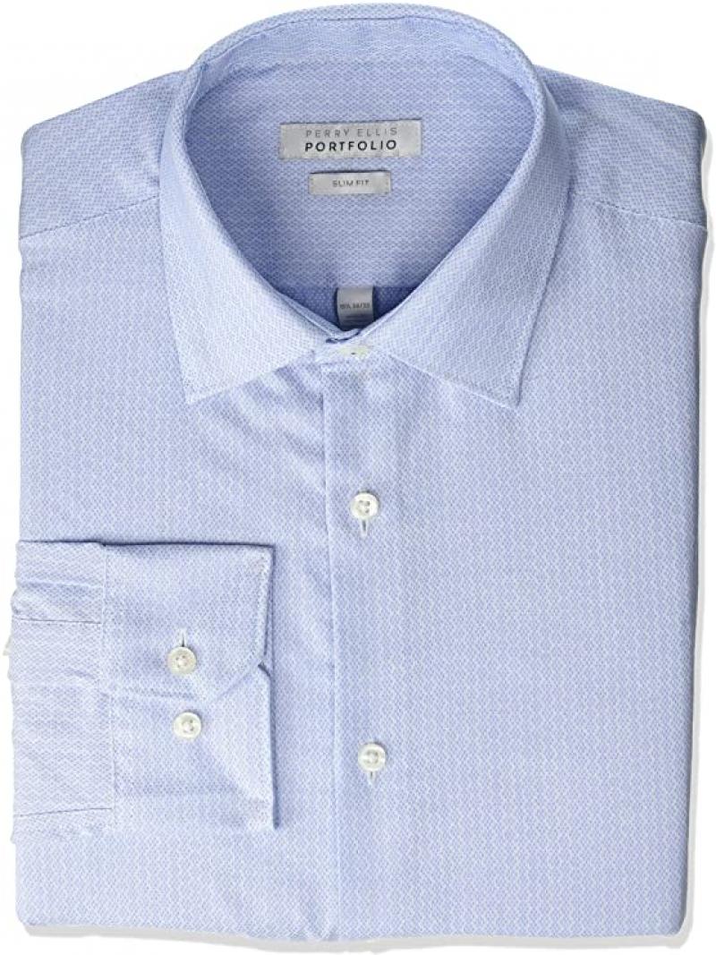 ihocon: Perry Ellis Men's Slim Fit Spread Collar Dress Shirt 男士襯衫