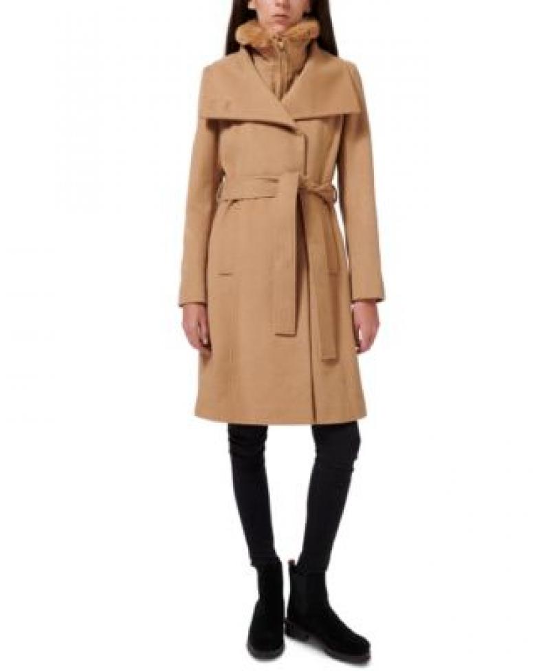 ihocon: Sam Edelman Faux-Fur-Lined Belted Wrap Coat  女士大衣-多色可選