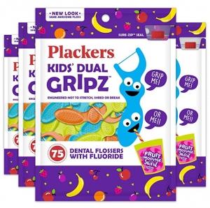 Plackers 兒童牙線棒 75支裝 4包(共300支) $5.31(原價$7.74)
