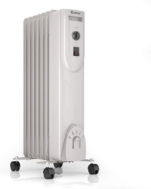 ihocon: COSTWAY Oil Filled Heater, 1500W Portable Radiator Space Heater with Adjustable Thermostat電暖器