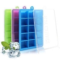 ihocon: COCIVIVRE Silicone Ice Cube Trays with Lids 矽膠含蓋製冰盒 3個
