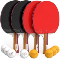 ihocon: NIBIRU SPORT Ping Pong Paddle Set (4-Player Bundle)乒乓球拍4支及球