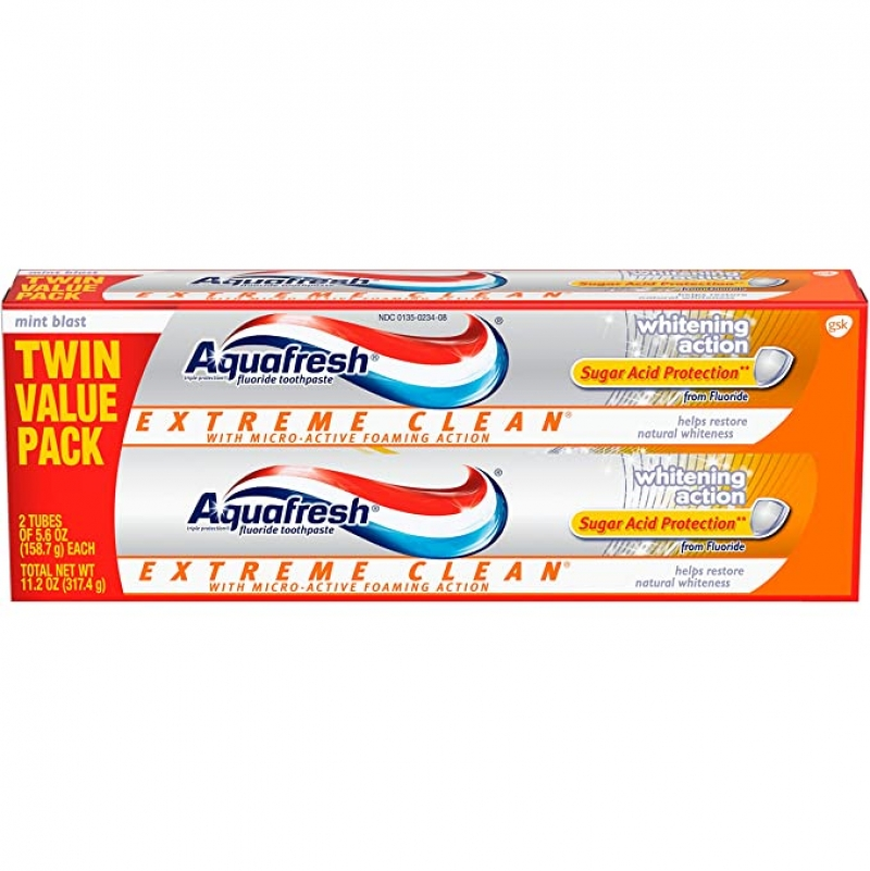 ihocon: Aquafresh Extreme Clean, Whitening Action, Fluoride Toothpaste for Cavity Protection, Twinpack, 11.2 Ounce 牙膏