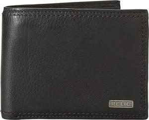 ihocon: Relic by Fossil Men's Mark Leather Traveler Bifold Wallet, Black 男士真皮皮夾