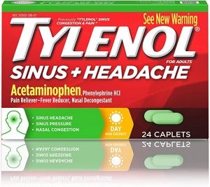 ihocon: Tylenol Sinus + Headache Non-Drowsy Daytime Caplets with Acetaminophen & Phenylephrine HCl, 24 ct 鼻塞+頭痛藥