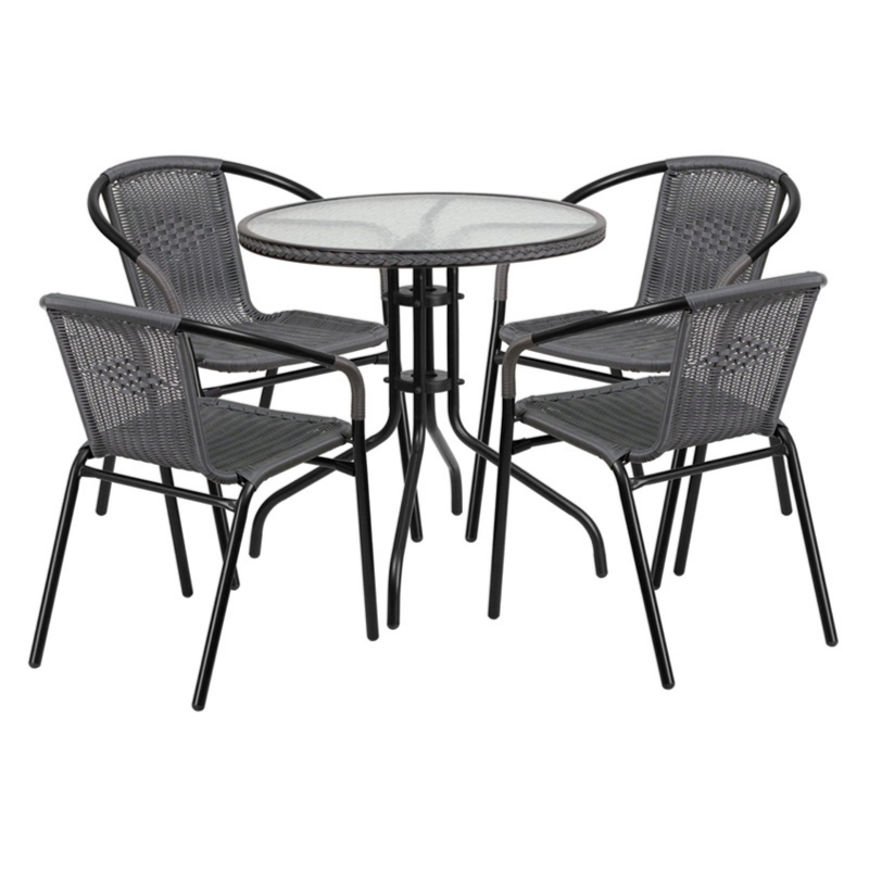 ihocon: Flash Furniture Flash Furniture Outdoor Patio Dining Set, Glass Table with 4 Rattan Chairs 戶外餐桌椅組