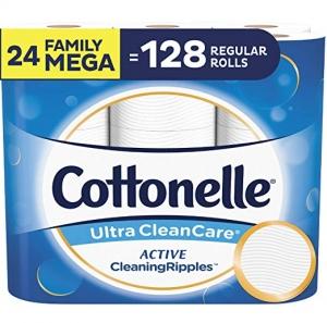 [24捲等於128捲的份量] Cottonelle Ultra CleanCare 廁所衛生紙家庭號超大卷24捲 $19.49免運(原價$29.99)