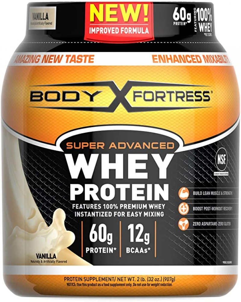 ihocon: Body Fortress Super Advanced Whey Protein Powder, Gluten Free, Vanilla, 2 Pound  乳清蛋白粉