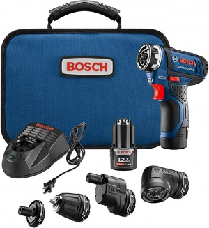 ihocon: Bosch GSR12V-140FCB22 Cordless Electric Screwdriver Kit - 12V 5-In-1 Multi-Head Power Drill Set 無線電動螺絲刀/電鑽組