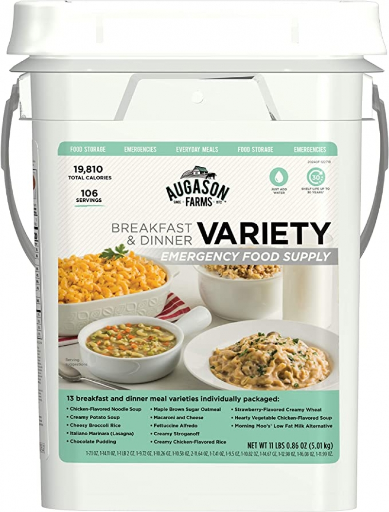ihocon: Augason Farms Breakfast and Dinner Variety Pail Emergency Food Supply Everyday Meals 4 Gallon Pail 緊難求生食品
