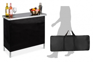 ihocon: Best Choice Products Portable Pop-Up Bar Table w/ Carrying Case, Removable Skirt 便攜手提吧台