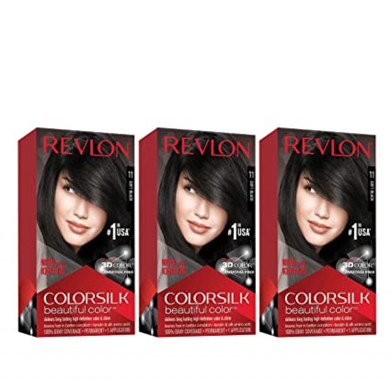 ihocon: Revlon Colorsilk Beautiful Color Permanent Hair Color, 11 Soft Black, 4.4 oz (Pack of 3) 露華濃染髮劑