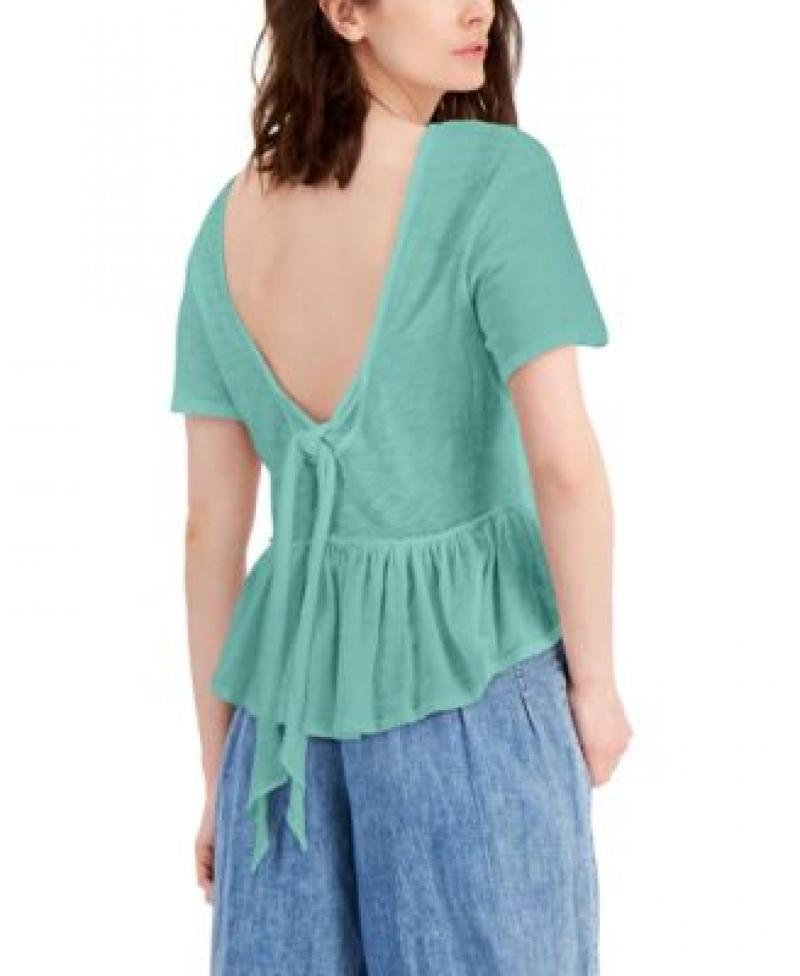 ihocon: INC International Concepts INC Cotton Tie-Back Ruffled Top女士純棉上衣