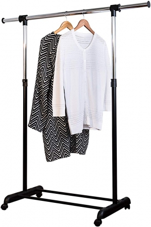 ihocon: Honey-Can-Do GAR-01124 Expandable Garment Rack, Chrome/Black晾衣架
