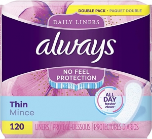ihocon: Always Thin Daily Liners, Regular Absorbency, 120 Count, Unscented, Wrapped 日常護墊