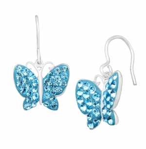 ihocon: Butterfly Earrings with Swarovski Crystal 純銀鑲施華洛世奇水晶蝴蝶耳環
