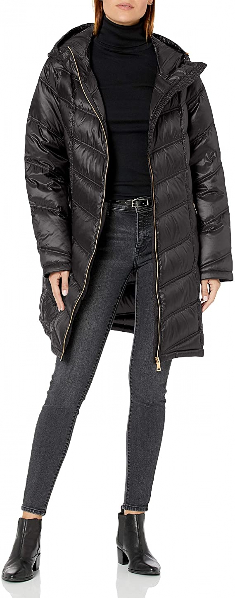 ihocon: Calvin Klein Women's Hooded Chevron Quilted Packable Down Jacket 女士連帽羽絨長夾克