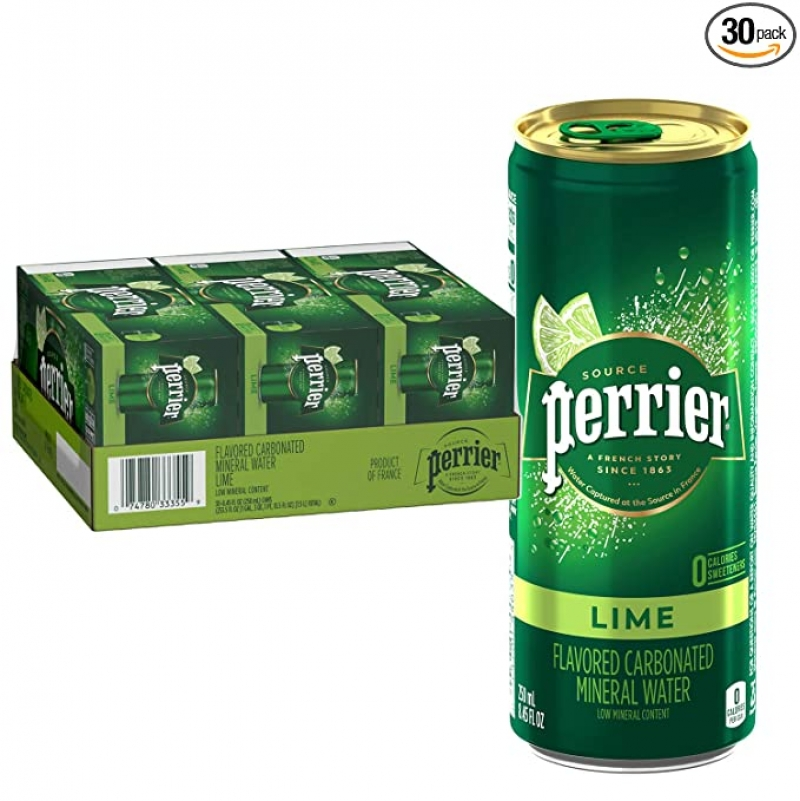 ihocon: Perrier Lime Flavored Carbonated Mineral Water, 8.45 Fl Oz (30 Pack) 氣泡礦泉水
