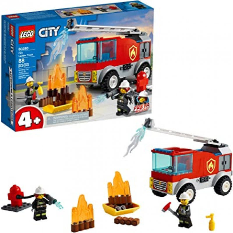 ihocon: LEGO City Fire Ladder Truck 60280 Building Kit; Fun Firefighter Toy Building Set for Kids, New 2021 (88 Pieces) 樂高城市消防車60280建築套件; 2021年新推出的有趣的消防員兒童玩具大廈套裝(88個)
