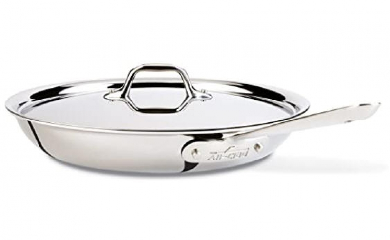 ihocon: All-Clad D3 Stainless Cookware, 12-Inch Fry Pan with Lid, Tri-Ply Stainless Steel含蓋三層不銹鋼鍋