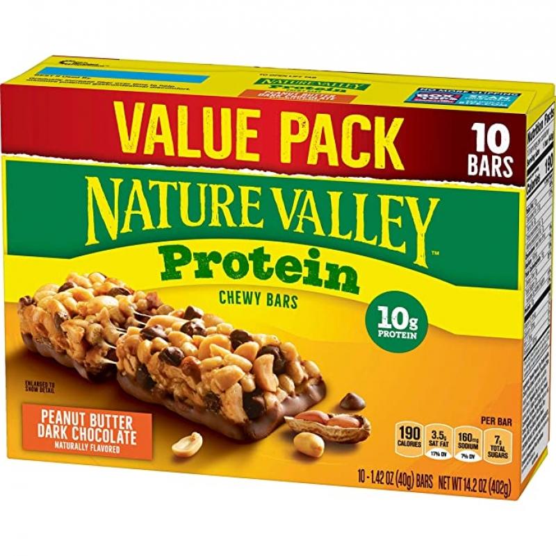 ihocon: Nature Valley Protein Bar, Gluten Free, Granola Bar, Peanut Butter Dark Chocolate 10 Bars 無麩質蛋白質補充棒