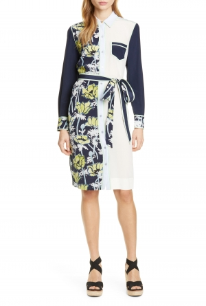 ihocon: TORY BURCH Silk Patchwork Long Sleeve Dress  絲質長袖洋裝