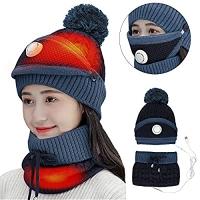 ihocon: iFCOW Womens USB Heated Hat Scarf Set 充電式加熱帽子圍巾口罩-多色可選