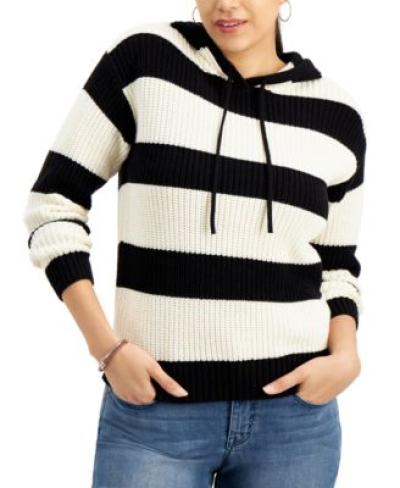 ihocon: Style & Co Striped Ribbed Hoodie Sweater連帽毛衣