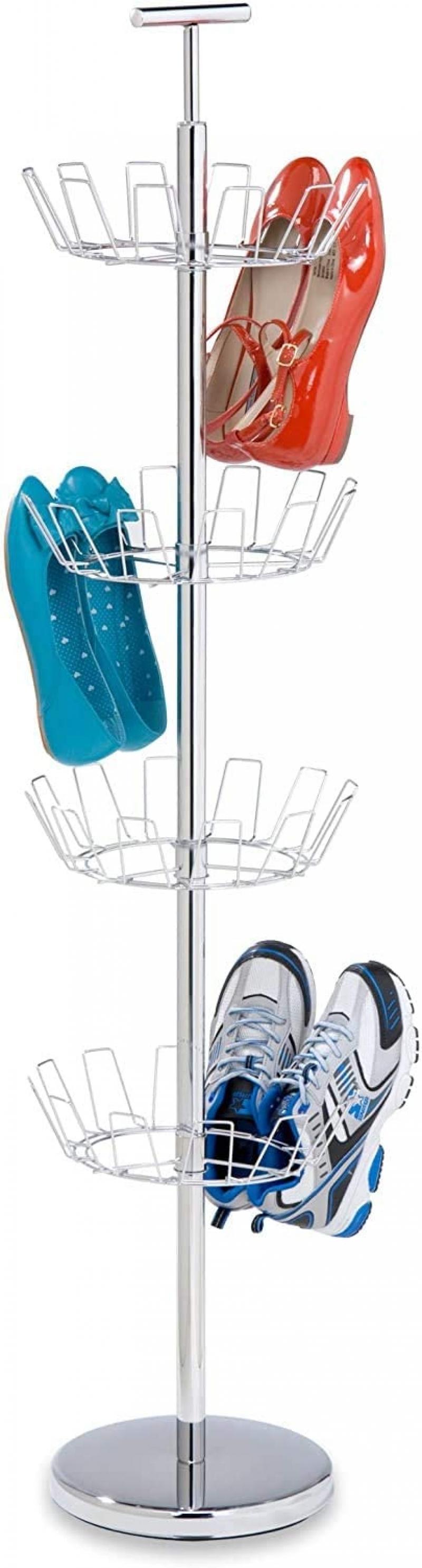 ihocon: Honey-Can-Do SHO-01483 Shoe Tree with Spinning Handle, Chrome, 4-Tier 四層旋轉鞋架