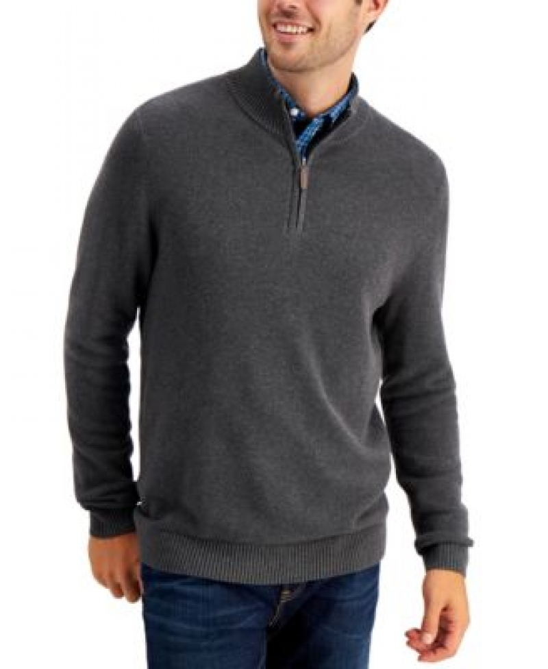 ihocon: Club Room Men's Quarter-Zip Textured Cotton Sweater 男士毛衣-多色可選