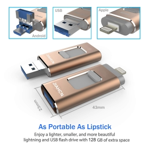 ihocon: JIAHCN 128GB USB 3.0 Flash Drive with iPhone/PC/iPad/Android and More Devices (Gold)