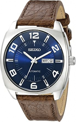 ihocon: Seiko Men's SNKN37 Stainless Steel Automatic Self-Wind Watch with Brown Leather Band 精工男錶